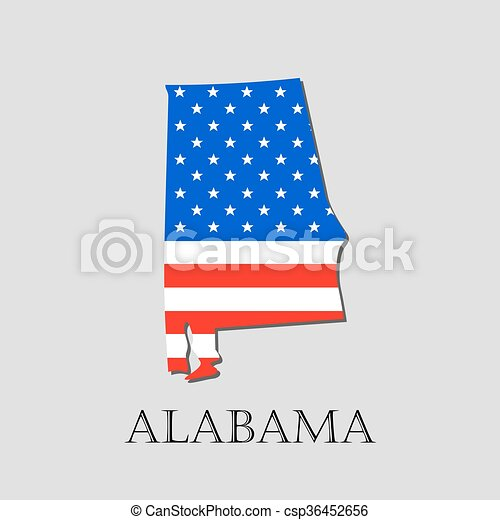 Map state of alabama in american flag - vector illustration. Map of ...