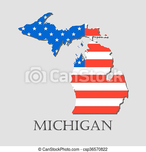 Map state of michigan in american flag - vector illustration. Map of ...