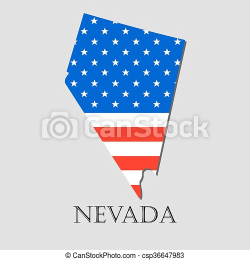 Map State of Nevada in American Flag - vector illustration. - csp36647983