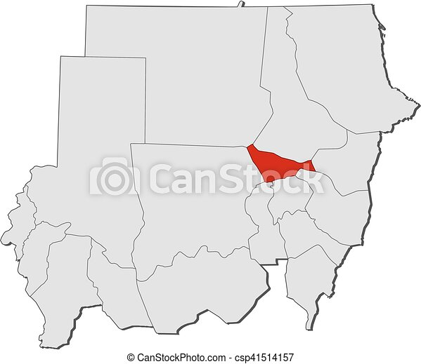 Map sudan khartoum Map of sudan with the provinces clipart