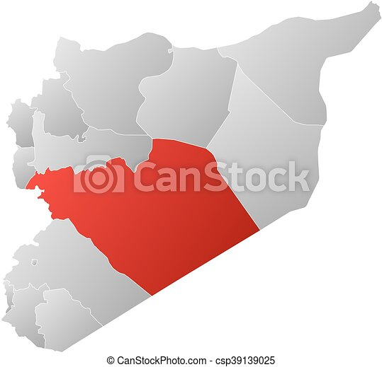 Map syria homs Map of syria with the provinces filled vector