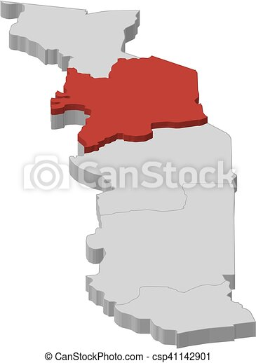 Map - togo, kara - 3d-illustration. Map of togo as a gray piece ...