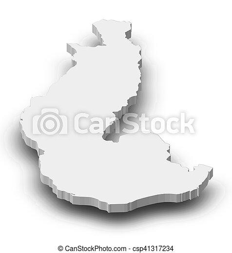 Map - toliara (madagascar) - 3d-illustration. Map of toliara, a ...