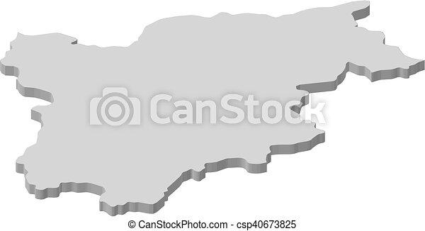 Map - Trentino-Alto Adige/Suedtirol (Italy) - 3D-Illustration - csp40673825