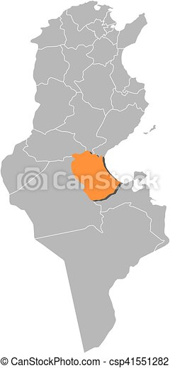 Map tunisia gabes Map of tunisia with the provinces vector