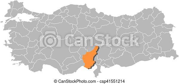 Map turkey adana Map of turkey with the provinces adana
