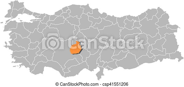 Map turkey aksaray Map of turkey with the provinces vector