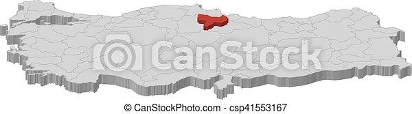 Map turkey amasya 3dillustration Map of turkey as a clip