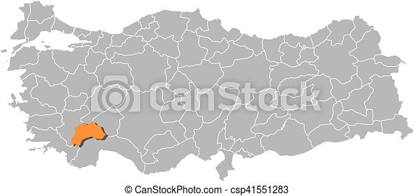 Map turkey burdur Map of turkey with the provinces vector