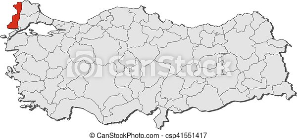 Map turkey edirne Map of turkey with the provinces vector