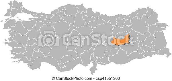 Map turkey elazig Map of turkey with the provinces clip art
