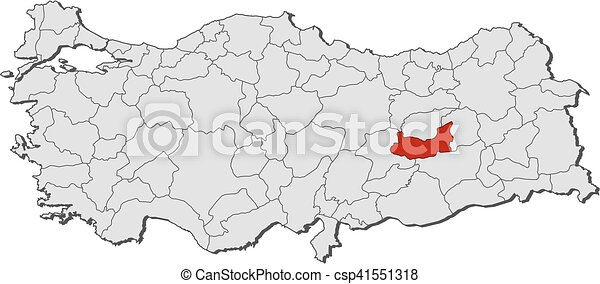Map turkey elazig Map of turkey with the provinces vector