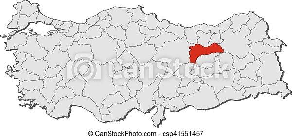 Map turkey erzincan Map of turkey with the provinces clipart