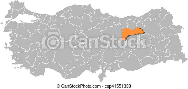 Map turkey erzincan Map of turkey with the provinces vectors