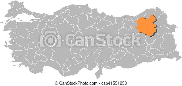 Map turkey erzurum Map of turkey with the provinces clipart