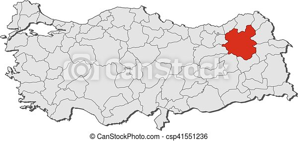 Map turkey erzurum Map of turkey with the provinces vectors