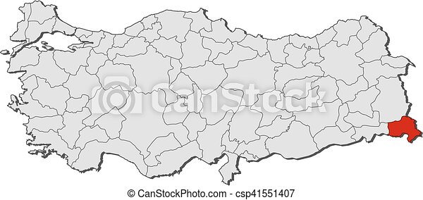 Map turkey hakkari Map of turkey with the provinces vector