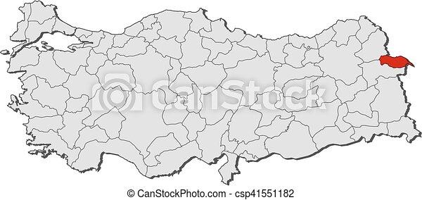 Map turkey igdir Map of turkey with the provinces igdir