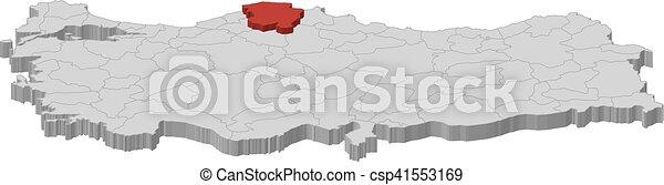 Map turkey kastamonu 3dillustration Map of turkey as clip