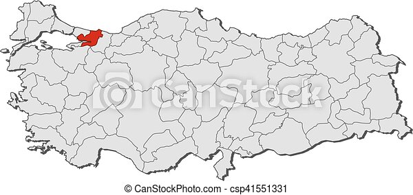 Map turkey kocaeli Map of turkey with the provinces vectors