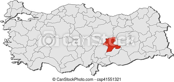 Map turkey malatya Map of turkey with the provinces vector