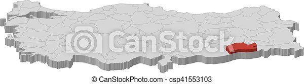 Map turkey mardin 3dillustration Map of turkey as a vector