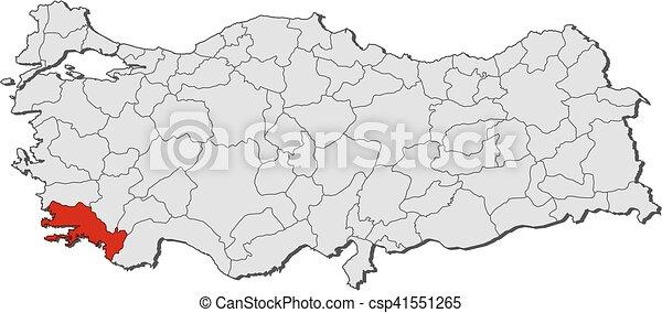 Map turkey mugla Map of turkey with the provinces mugla clip