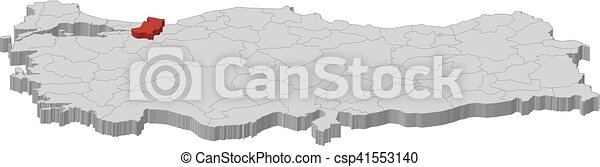 Map turkey sakarya 3dillustration Map of turkey as a eps