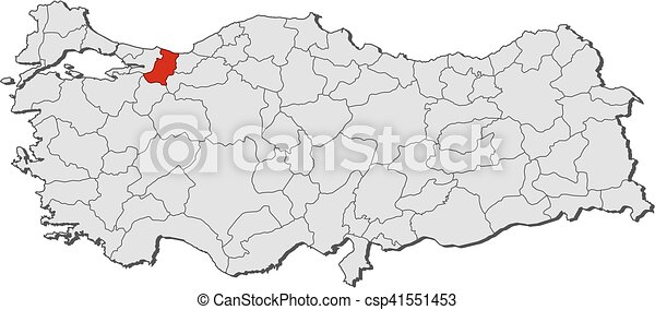 Map turkey sakarya Map of turkey with the provinces clipart