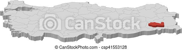 Map turkey siirt 3dillustration Map of turkey as a vector