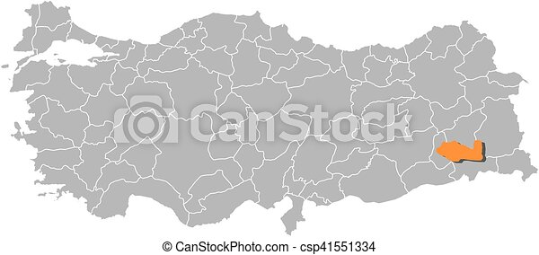 Map turkey siirt Map of turkey with the provinces siirt