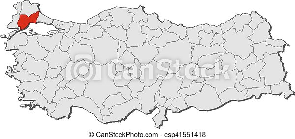 Map turkey tekirdag Map of turkey with the provinces vector