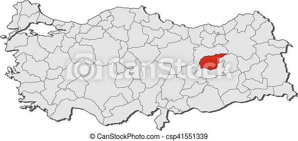 Map turkey tunceli Map of turkey with the provinces vectors