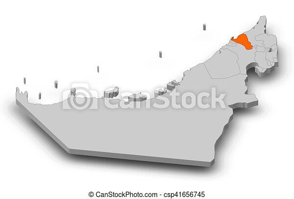 Map united arab emirates umm alquwain 3dillustration