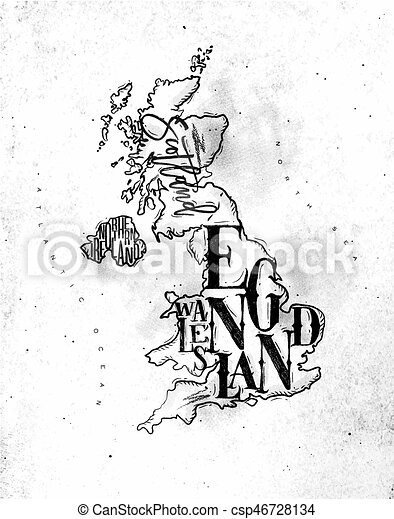 Map Of England Drawing.Map United Kingdom Vintage