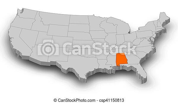 Map - United States, Alabama - 3D-Illustration