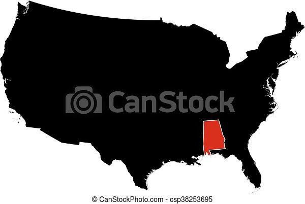 Map - United States, Alabama