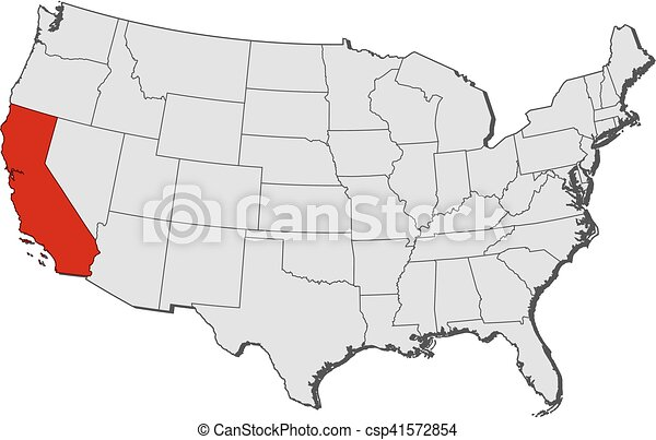 Map Of California Us.Map United States California