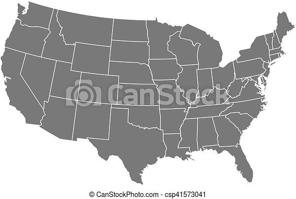 Map - united states. Map of united states as a dark area. eps vector ...