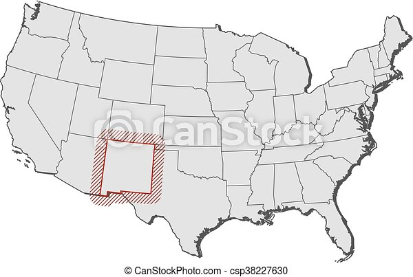 Map - united states, new mexico. Map of united states with the ...