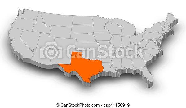Map - United States, Texas - 3D-Illustration