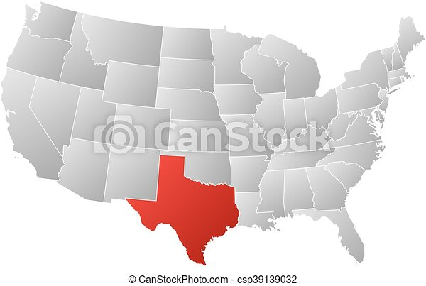 Map - united states, texas. Map of united states with the provinces ...