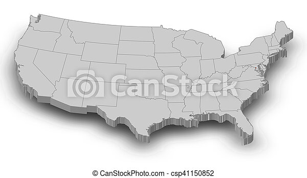 Map - United States, Washington D.C. - 3D-Illustration