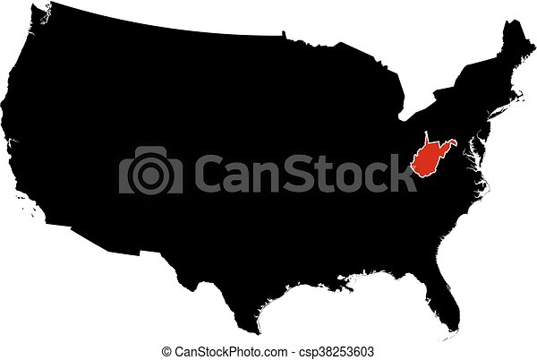 Vector Clipart Of Map United States West Virginia Map Of - West virginia us map