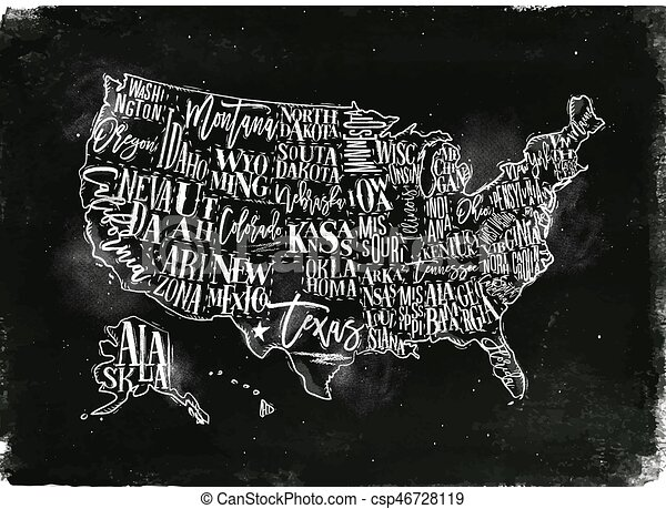 Map usa vintage chalk. Vintage usa map with states inscription ...