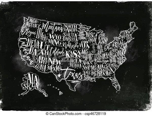 Map usa vintage chalk. Vintage usa map with states inscription ...