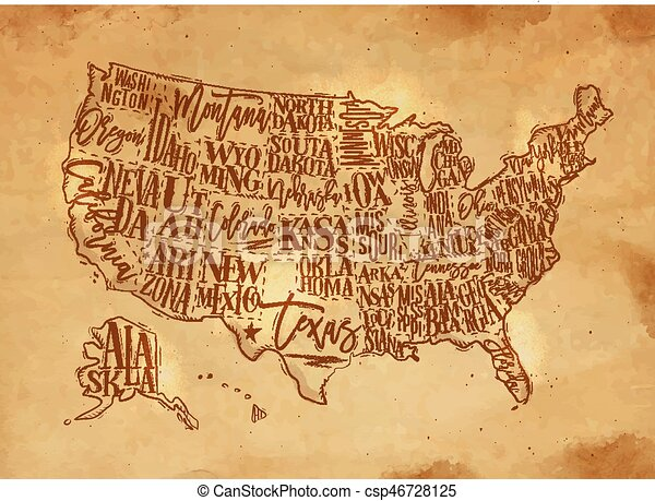 Line Art Usa Map : Map usa vintage craft with states vector