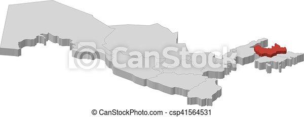 Map uzbekistan namangan 3dillustration Map of vectors
