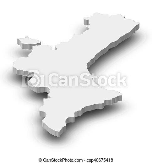 Map - valencian community (spain) - 3d-illustration. Map of ...