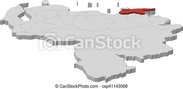 Map venezuela sucre 3dillustration Map of venezuela clip